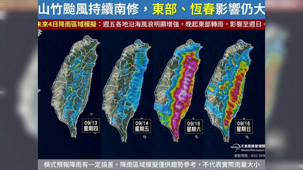 圖/翻攝自天氣風險公司臉書 山竹雨勢驚人! 1張圖看懂週末各地「雨怎麼下」