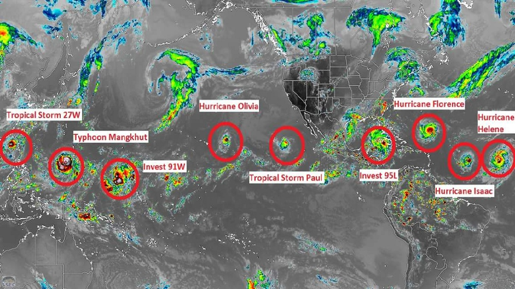北半球同時出現9個颱風、颶風和熱帶氣旋,連「Jamaica Weather」都發文指出:這個週末會很瘋狂。(圖/翻攝自推特) 驚!超狂照片見北半球「9颱連線」 環繞地球一圈