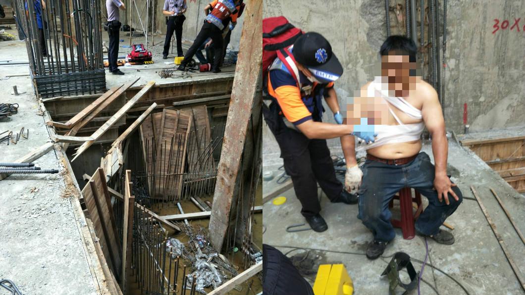 圖/TVBS 工人墜樓遭鋼筋刺穿「血壓飆200多」 吊掛救出送醫