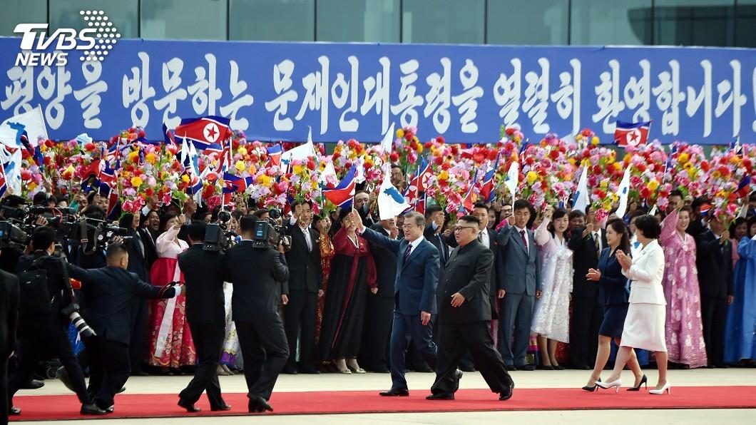 圖/達志影像路透社 文在寅3會金正恩 北韓民眾高喊「祖國統一」