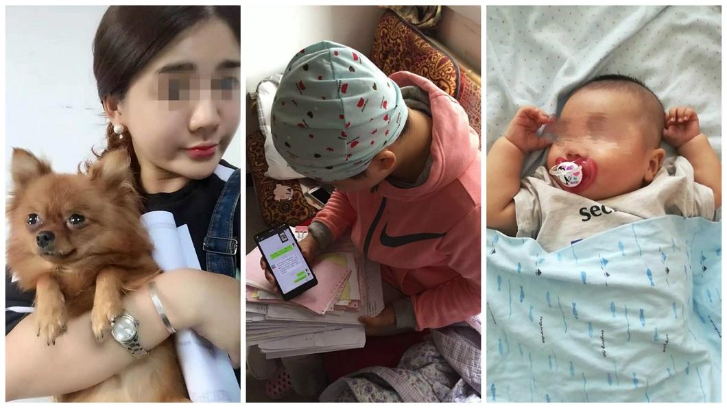 正妹原本外貌亮麗,罹癌後整個身體狀況變差,現在只能透過手機的照片思念兒子。(圖/翻攝自微博)