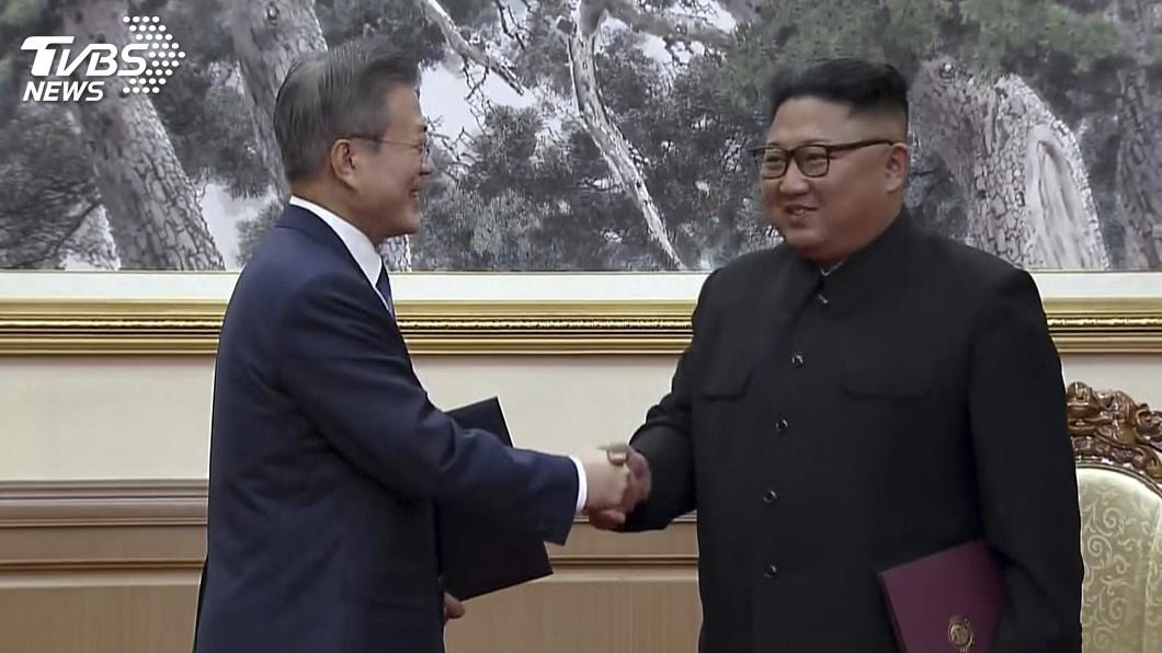 圖/達志影像美聯社 文金簽署平壤共同宣言 金正恩承諾回訪首爾