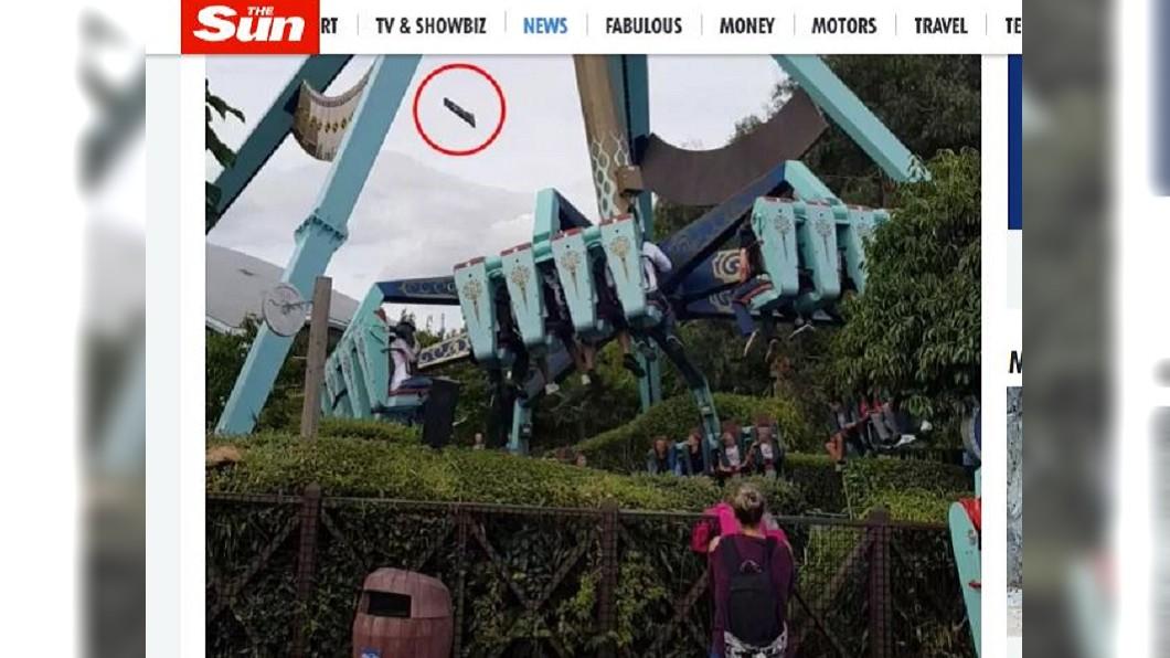 圖/翻攝自The Sun網站 驚險一瞬間! 玩到一半...遊樂園椅背突飛落