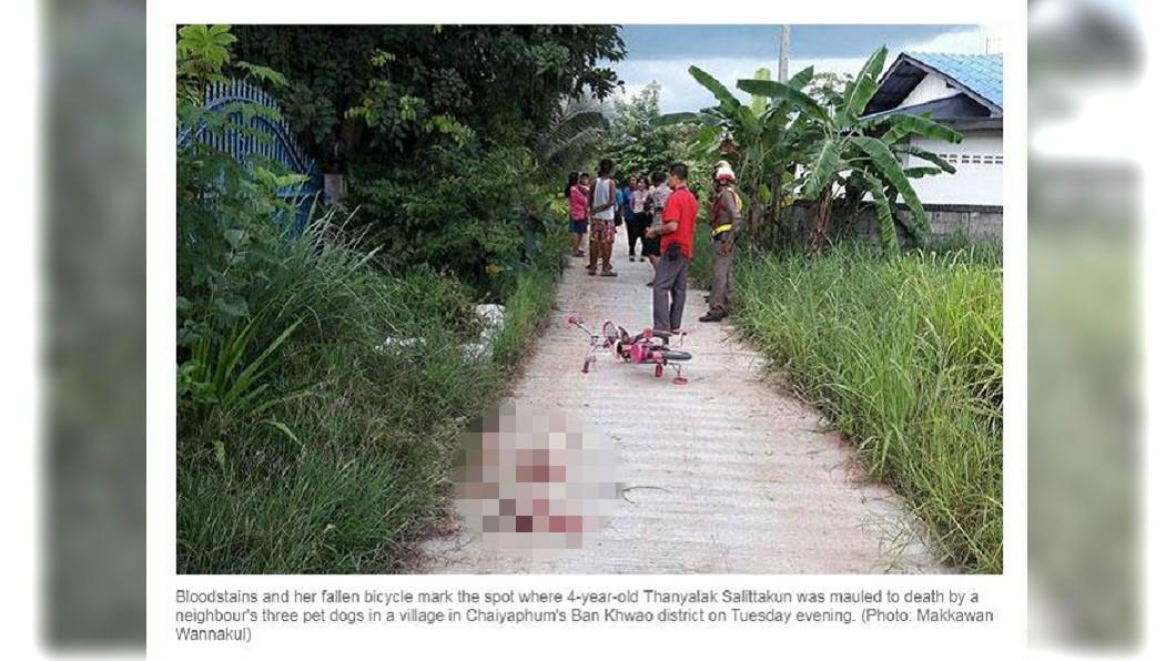 泰國一名4歲女童日前在戶外玩耍,結果遭鄰居飼養的3隻狗咬死。(圖/翻攝自曼谷郵報) 月底滿5歲…女童騎腳踏車玩耍 遭鄰3惡犬咬死