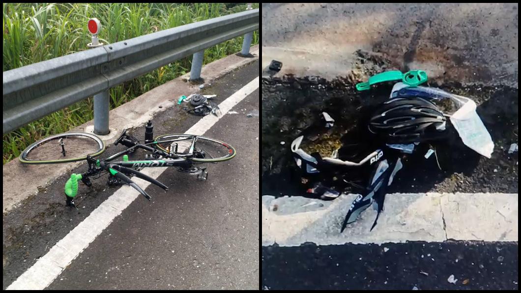 林男車子嚴重變形,安全帽也幾乎壓碎。圖/TVBS