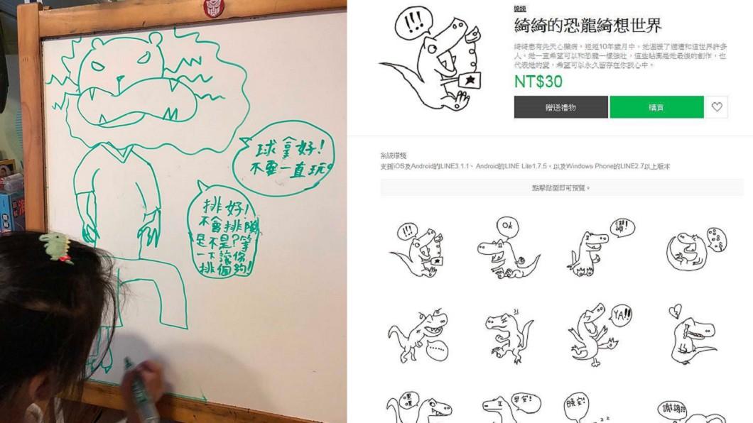 10歲女童綺綺所繪的恐龍被製成「綺綺的恐龍綺想世界」貼圖。圖/截取自施景中臉書