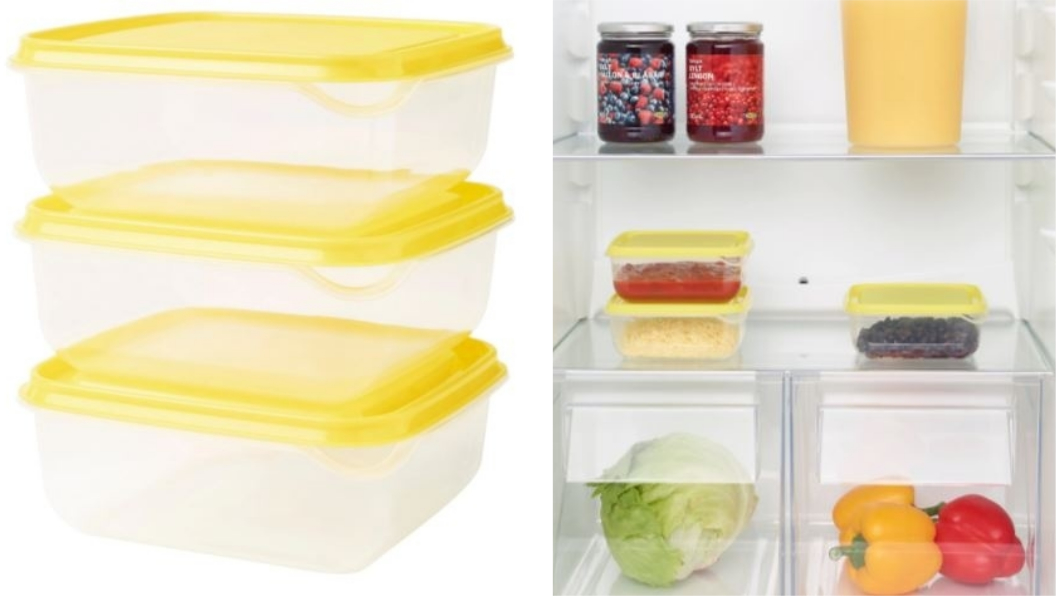 PRUTA保鮮盒3件裝,不含其他物品。圖/翻攝自IKEA官網