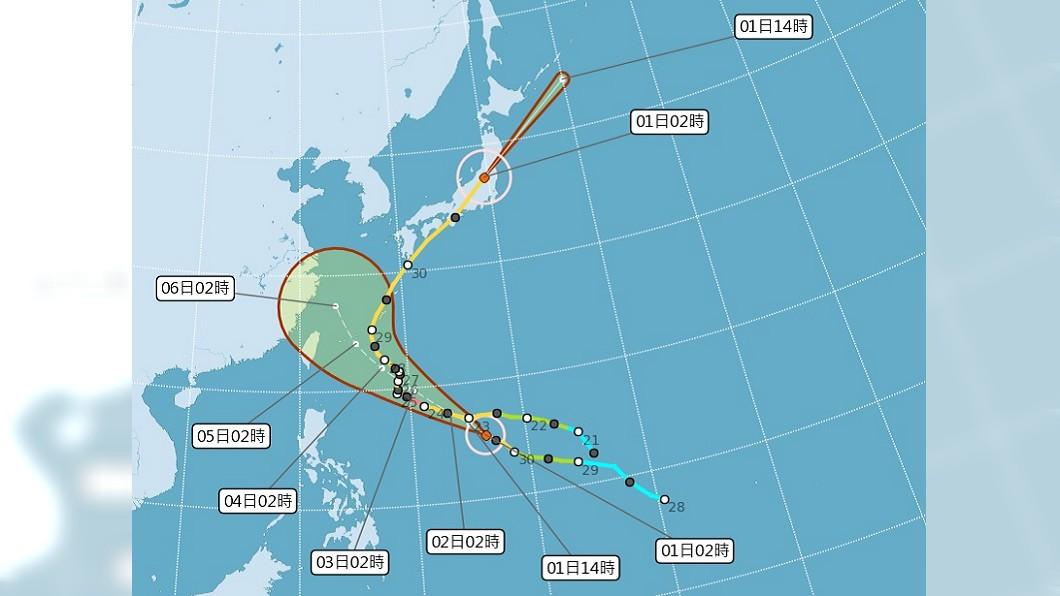 圖/中央氣象局 中颱康芮持續增強中 是否侵台3日較明朗