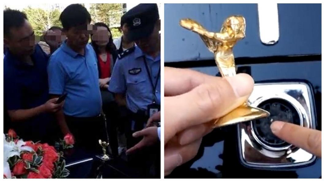 江蘇一名男子在搶禮堂時,不慎把勞斯萊斯的前標誌「飛天女神」折斷了。(圖/翻攝自陸網)