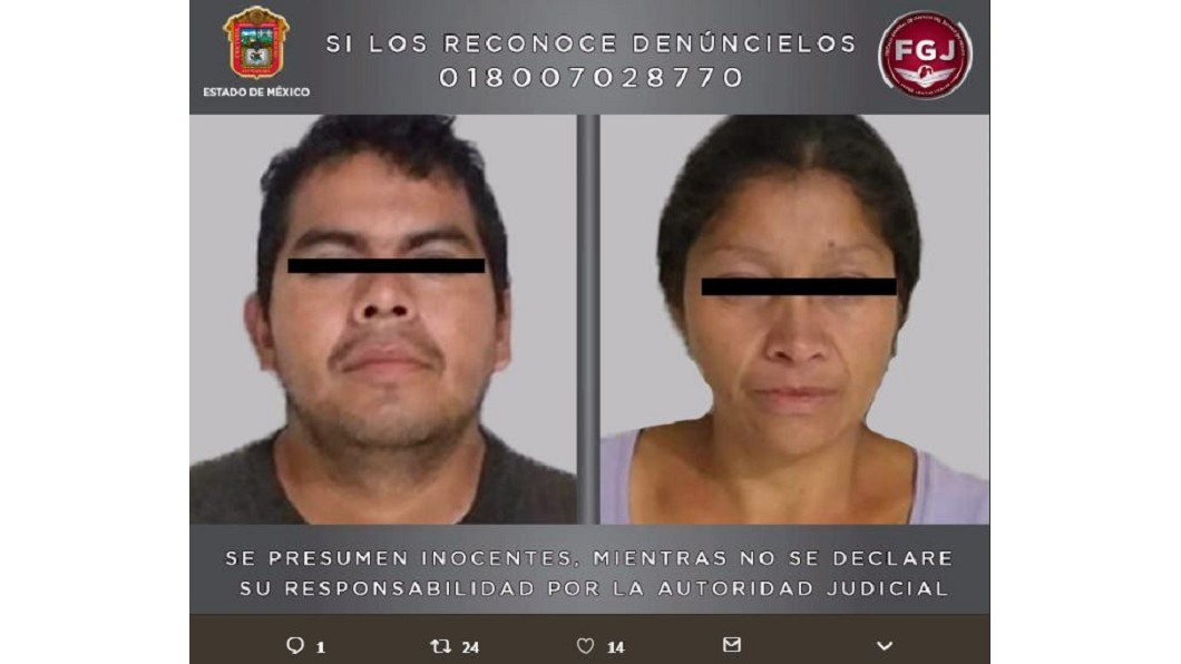 犯人卡洛斯(左)與帕特里夏(右)。圖/翻攝自@FiscalEdomex 推特 嬰兒車竟運屍塊! 墨西哥情侶殘殺20女餵狗
