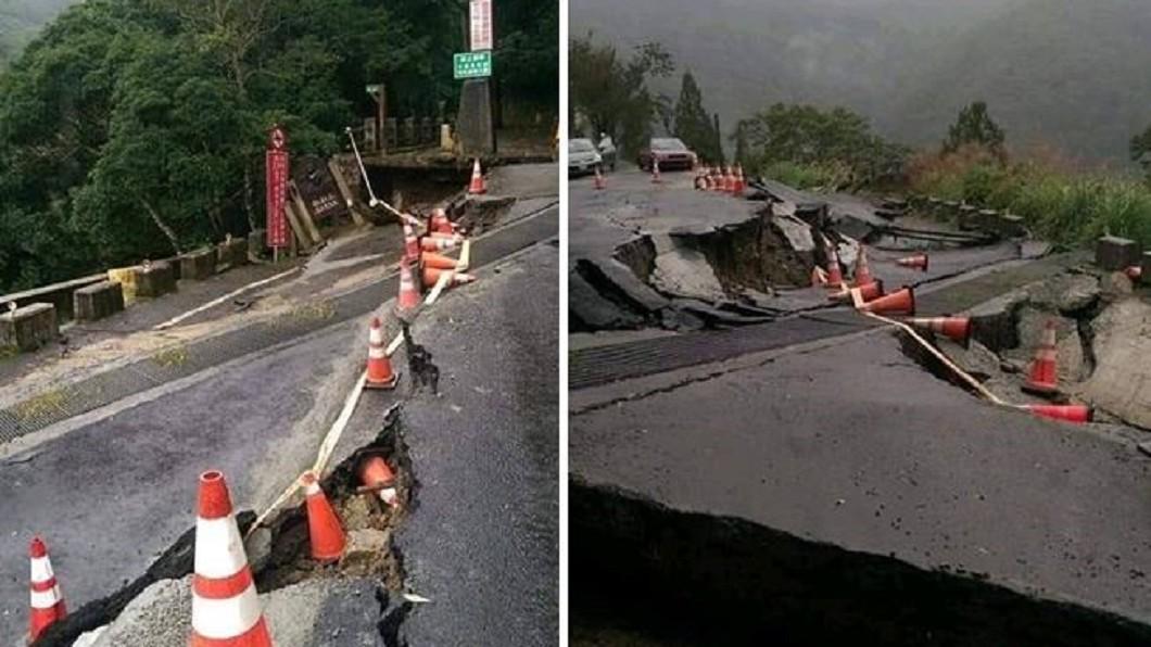 圖/翻攝爆料公社 入口狂裂50cm!路面位移塌陷 拉拉山保護區暫封閉
