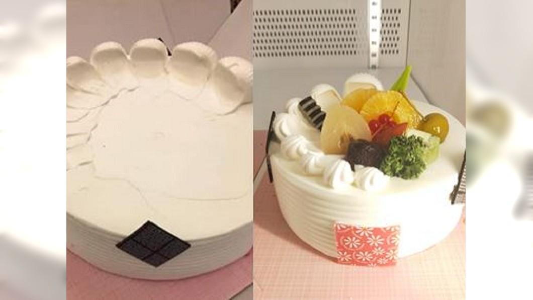 圖/翻攝自爆廢公社 不要水果裝飾 他收到慘白蛋糕卻怒批「偷工減料!」