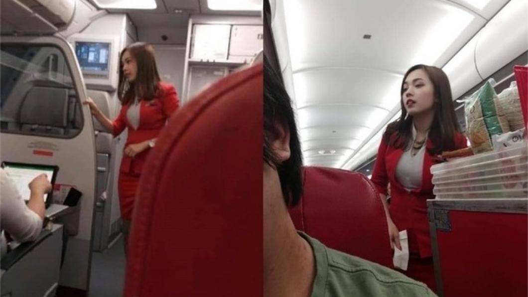 網友拍下的照片讓該名空姐在網路上爆紅。圖/翻攝自臉書