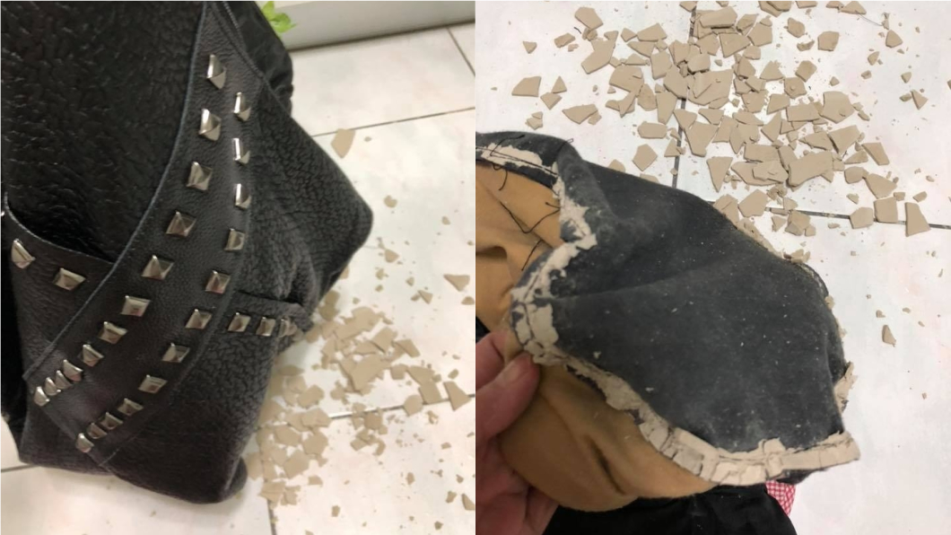 圖/翻攝自臉書「爆怨公社」 她網購百元包飄異味 剪開底部驚見「不明水泥塊」
