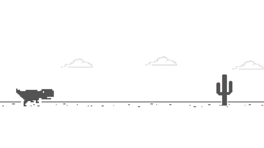 按下鍵盤方向鍵的「↓」,小恐龍會蹲下。圖/翻攝自Google chrome