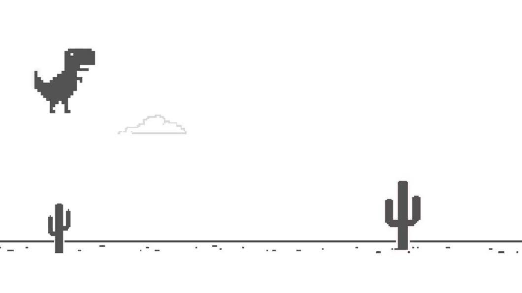 按下鍵盤空白鍵或是「↑」鍵,小恐龍就會跳起來。圖/翻攝自Google chrome
