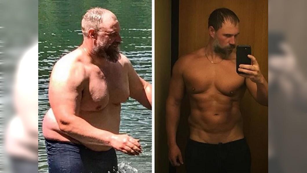 左為彼得森昔日體重破百的樣子,右為他努力減重後的成果。圖/翻攝自Jeremiah Peterson Instagram 體重破百爬山追不上孩子 他立志減重變六塊肌
