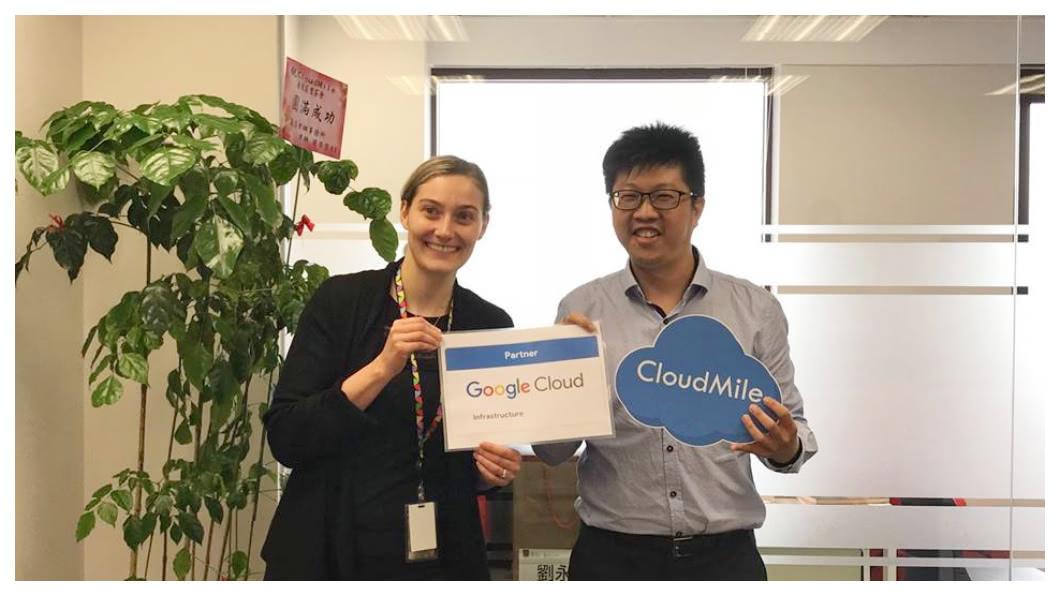 萬里雲是在Google提供全球公有雲(Cloud)的基礎下,協助Google在亞洲市場「落地」應用,包括開創團隊並開發客戶。目前全球公有雲共有Google GCP、Amazon AWS及Microsoft Azure三大業者,預估2020年市場規模約1950億美元,之後每年還會以一倍以上的速度成長。圖右為萬里雲創辦人劉永信。   圖/劉永信臉書