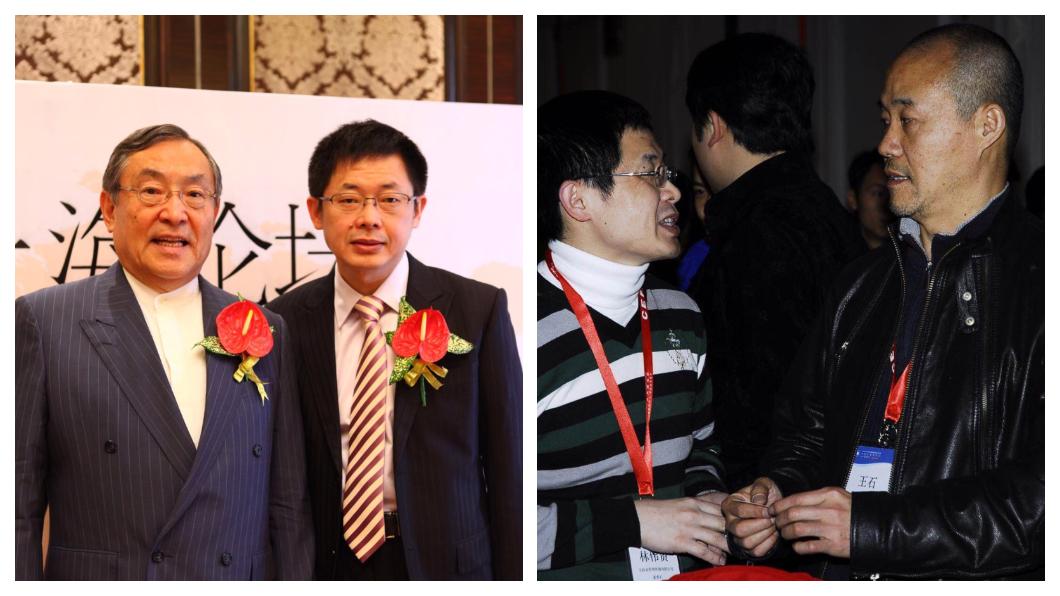 林偉賢(左圖右一)以「超級名師」光環,從上海企業界,一路紅到北廣深等城市,是馬雲、王石(右圖右一)、馮侖等大陸企業名人頗賞識的培訓大師,林偉賢的口說本領、機智反應,讓人稱「口才帝」的馬雲也另眼相待。左圖為林偉賢與日本趨勢大師大前研一。右圖為林與王石合影。 圖/實踐家創業私塾臉書