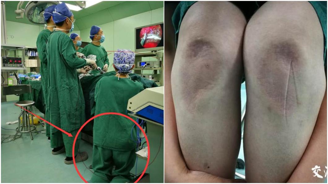 圖/翻攝上海熱線 護理師跪地搶救新生兒 5hr後膝蓋凹陷發紫