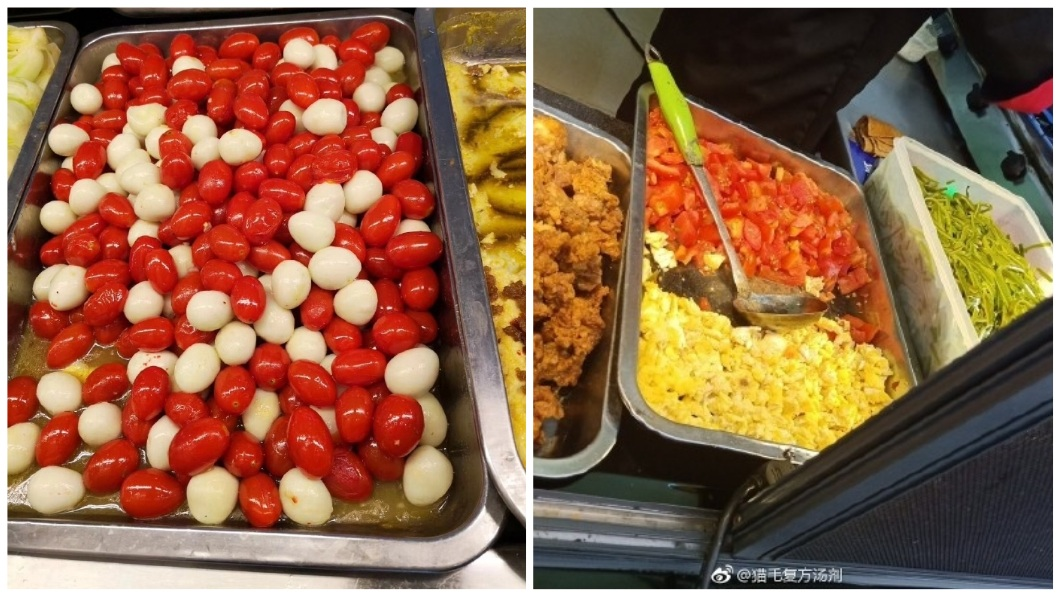 有網友分享自己學校餐廳做出的番茄炒蛋,模樣讓人看了全笑翻。(圖/合成圖,翻攝自微博) 狂!分享學校餐廳「番茄炒蛋」 粒粒分明網笑翻