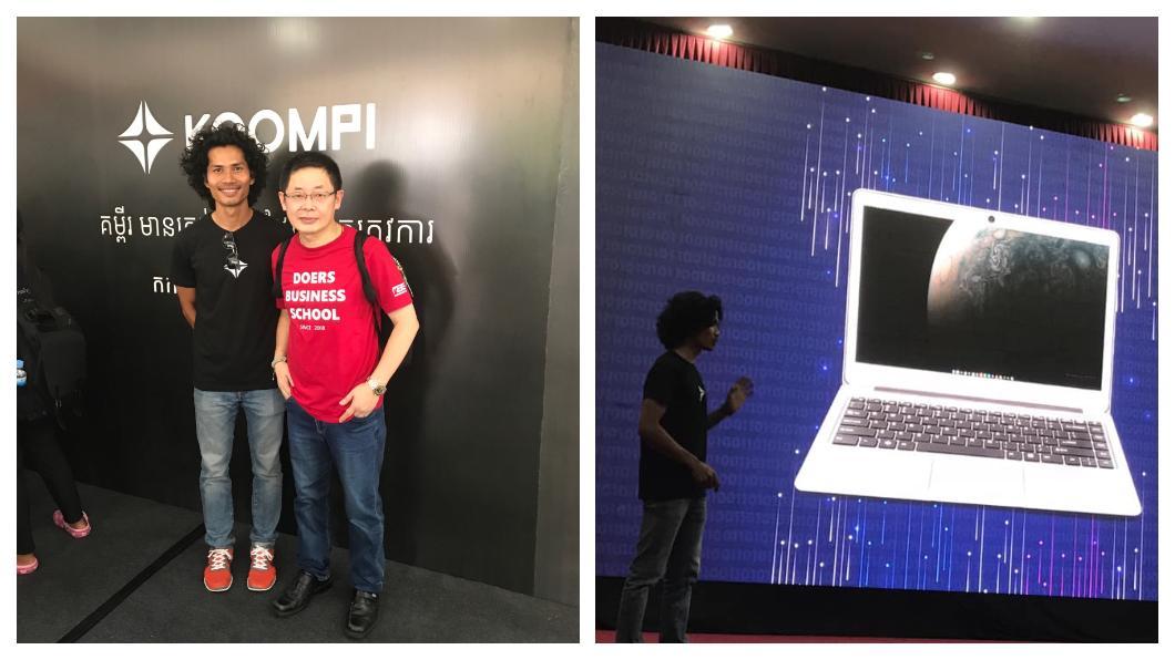 上周六(20日)號稱「柬埔寨賈伯斯」的Rithy在金邊舉行Koompi筆記型電腦的「全球新品發表會」(右圖),現場擁進三千多人,2011年起,實踐家教育集團就在金邊投資創辦Small World發表會,是實踐家集團在東南亞22個創業孵化基地之一。左圖右一為林偉賢,左為Rithy。   圖/實踐家創業私塾臉書