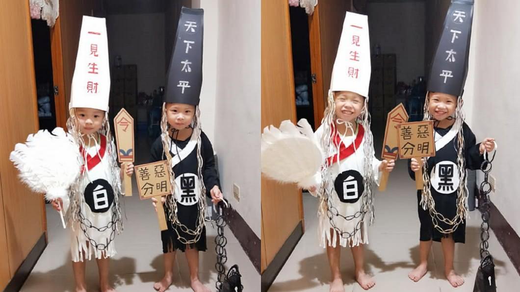 圖/爆料公社 孩子萬聖節=爸媽的認真 美甲師媽巧手製「黑白無常裝」