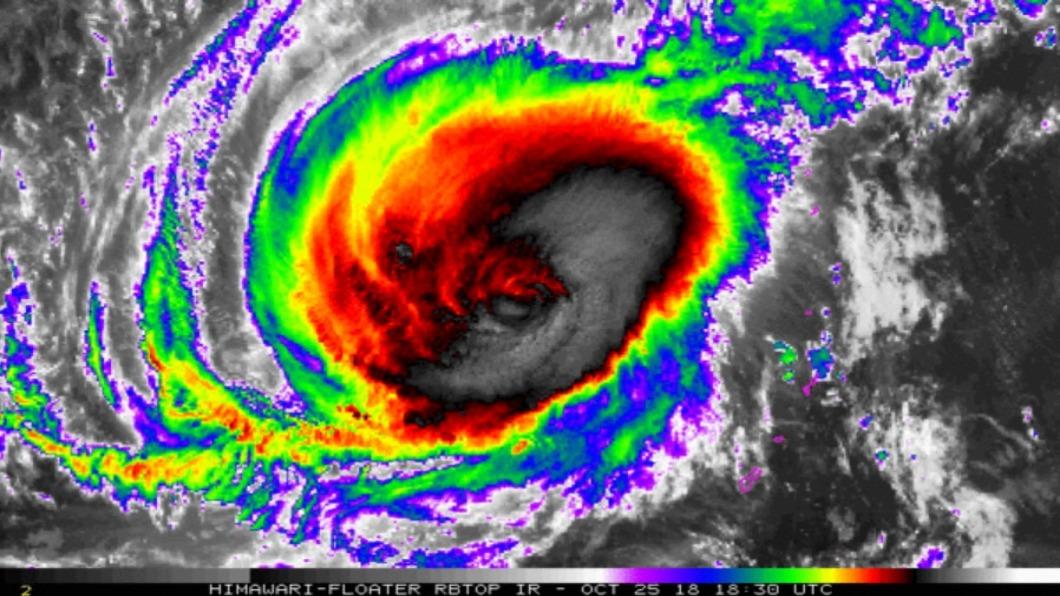 圖/翻攝自中央氣象局 玉兔颱風眼大過島!美示警「地表最強颱風」恐衝台