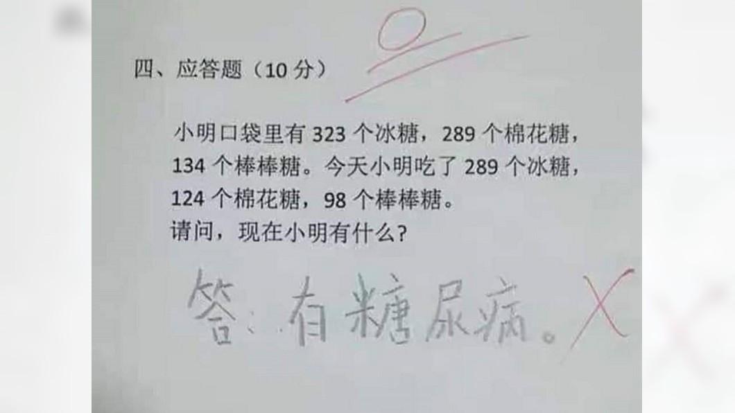 國小生回答「吃糖數學題」,其神解讓人狂推他當醫生。圖/翻攝自爆廢公社公開版臉書 國小生神答「吃糖數學題」 得0分卻被狂推當醫生
