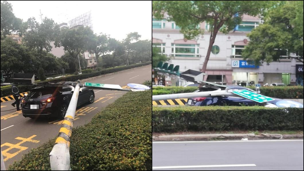 圖/翻攝新竹爆料公社 臉書 新竹風有多強?紅綠燈被吹斷 應聲壓毀1轎車