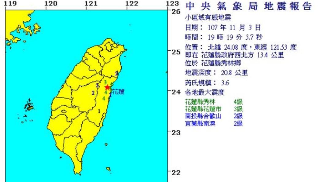 圖/中央氣象局 地牛翻身!花蓮規模3.6地震 最大震度4級