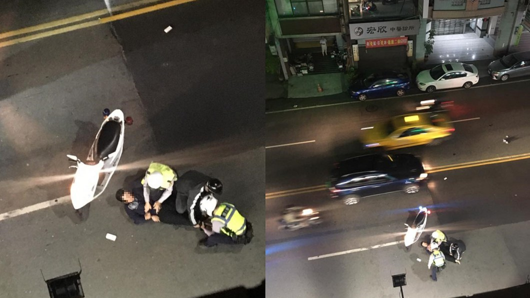 圖/爆料公社 毒蟲拒捕 2正義哥協助警「壓制+指揮交通」好感動