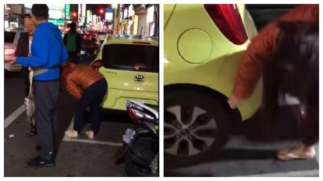 桃園市日前又見三寶出沒,婦人把人家車子A到了,竟拿出濕紙巾擦拭鈑金。(圖/翻攝自爆料公社) 撞到路邊停放車…三寶婦拿濕紙巾擦鈑金嗆:刮到車而已啊