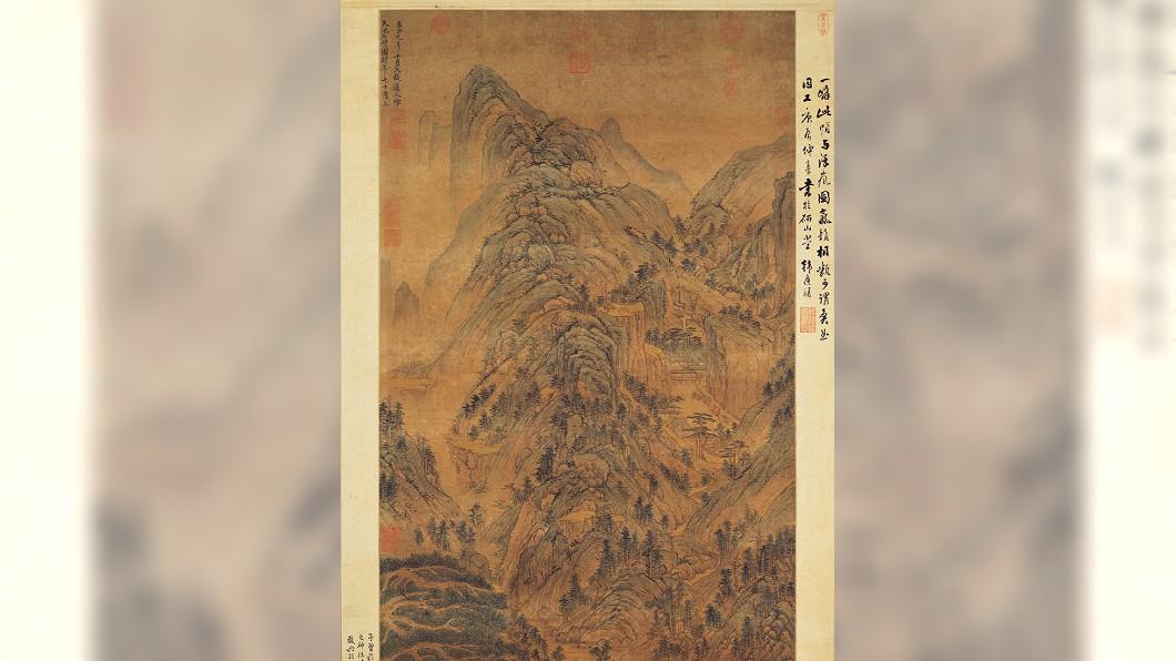 《天池石壁圖》上半部。圖/翻攝自故宮網站 送修26億名畫卻褪色 收藏家威脅「剁手腳」