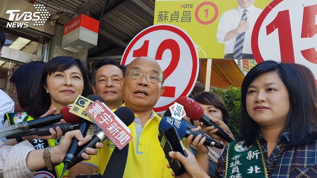 圖/中央社 六都辯論獨缺新北 蘇貞昌:侯若當選後會更賴皮