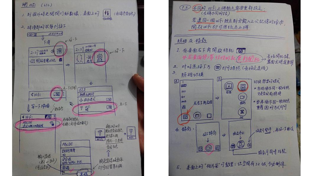 網友手繪說明書,讓爸媽更容易學會如何操作。圖/翻攝自PTT 爸媽手機Wi-Fi不會用 他手繪說明書教學