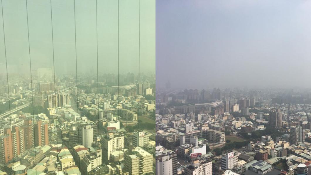 網友也拍下今天台中灰濛濛的天空。圖/翻攝自爆料公社