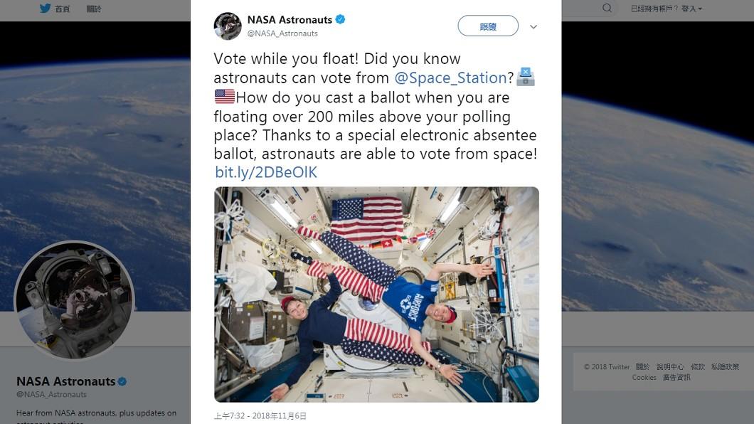 NASA推特官方帳號發文表示在外太空也能投票。圖/翻攝自推特