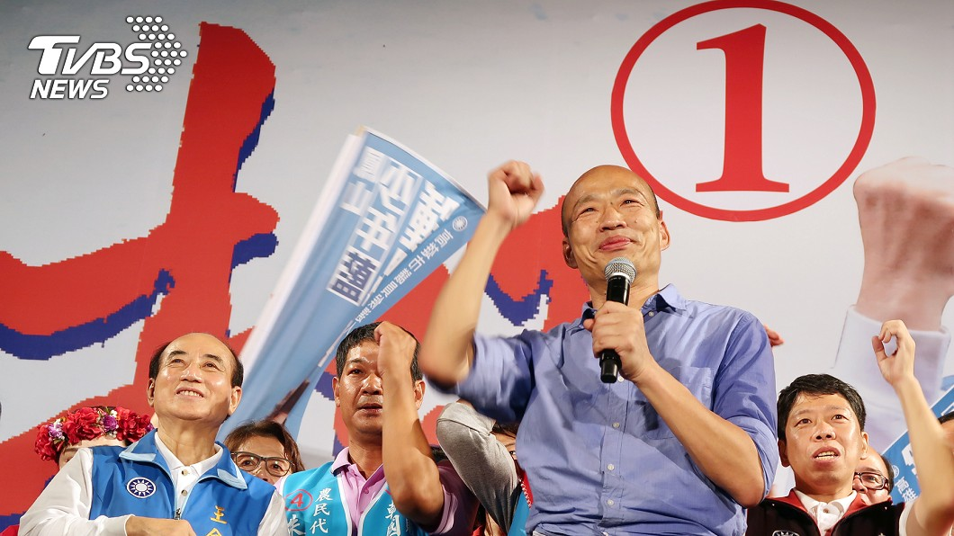 圖/中央社 「全台民進黨打我一個!」 韓國瑜3萬人造勢許這承諾