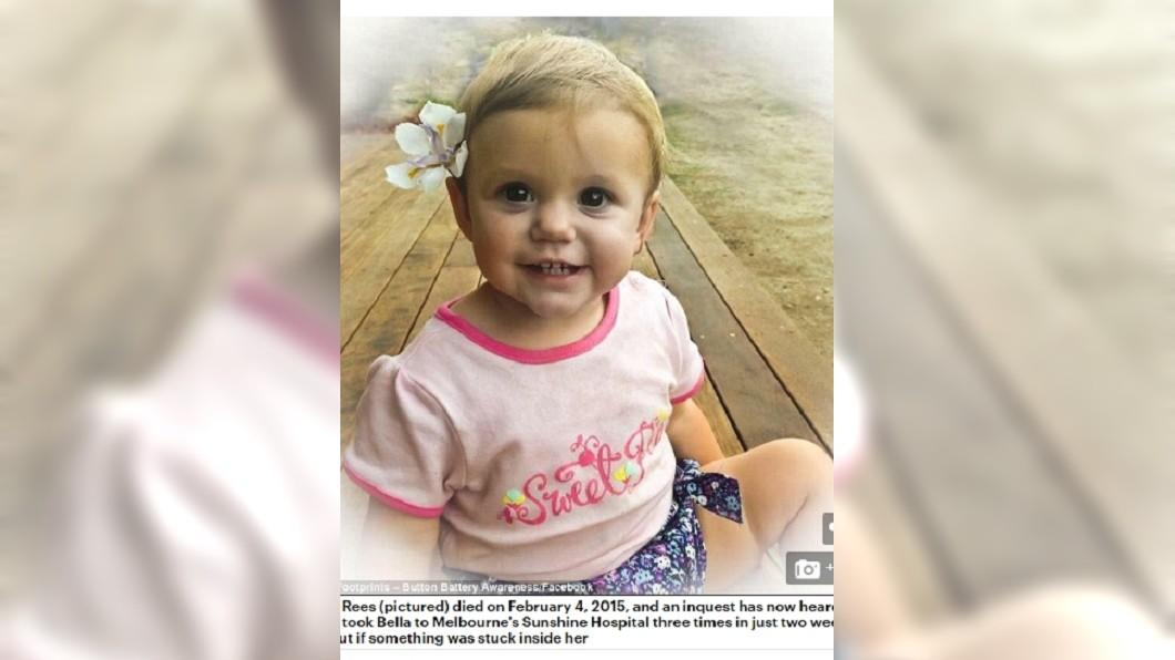 誤吞電池的女嬰伊莎貝拉。圖/翻攝自《每日郵報》 醫生不信女嬰誤吞電池 「等自行排出」害吐滿床黑血