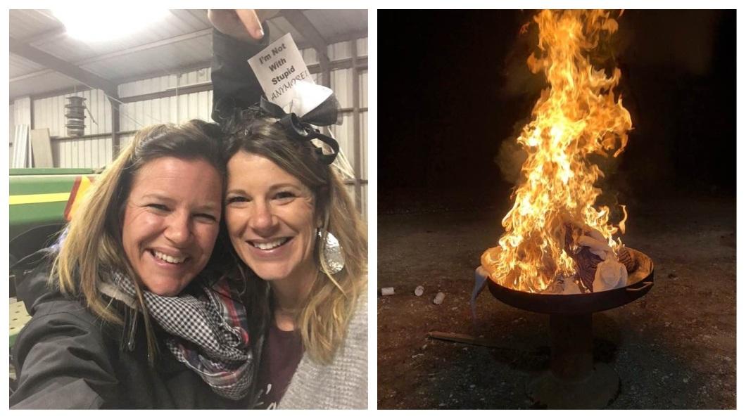 這名婦人慶祝的方式,就是一槍把過去的婚紗炸掉,也把所有和前夫有關的東西全都燒掉。(圖/翻攝自臉書)