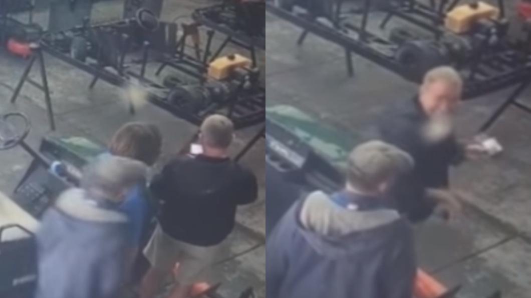 圖/翻攝自YouTube 他被神秘力量重擊肩膀 監視器驚見恐怖一幕