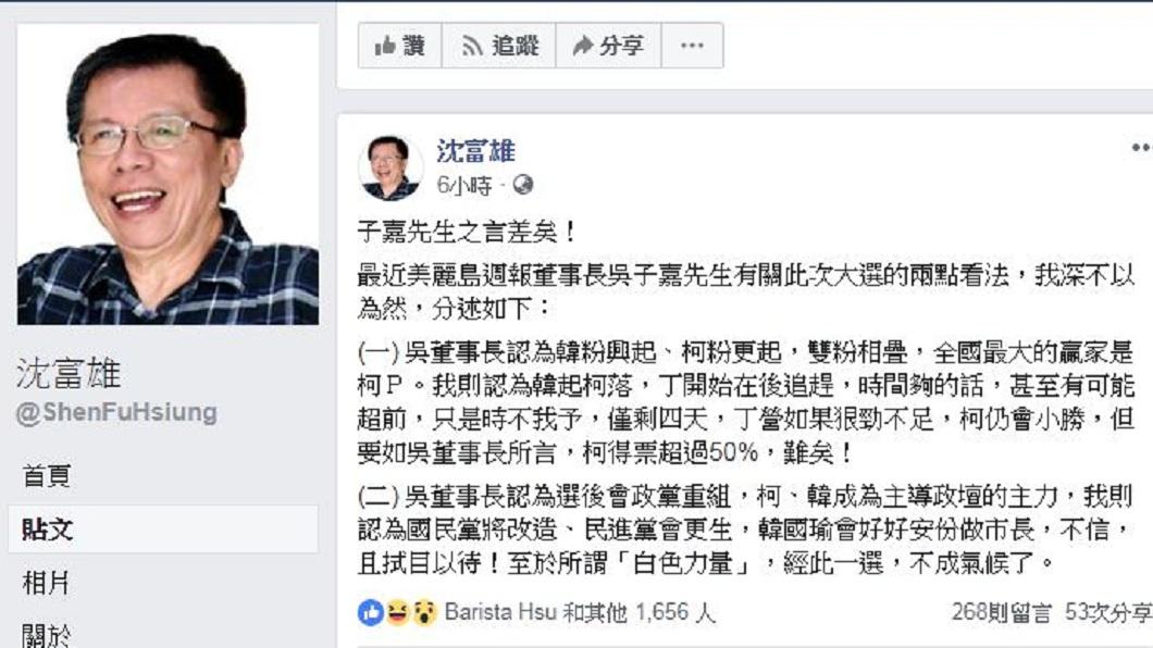 沈富雄在臉書提出2論點反駁吳子嘉,甚至認為這次選舉後白色力量會不成氣候。(圖/翻攝自沈富雄臉書)