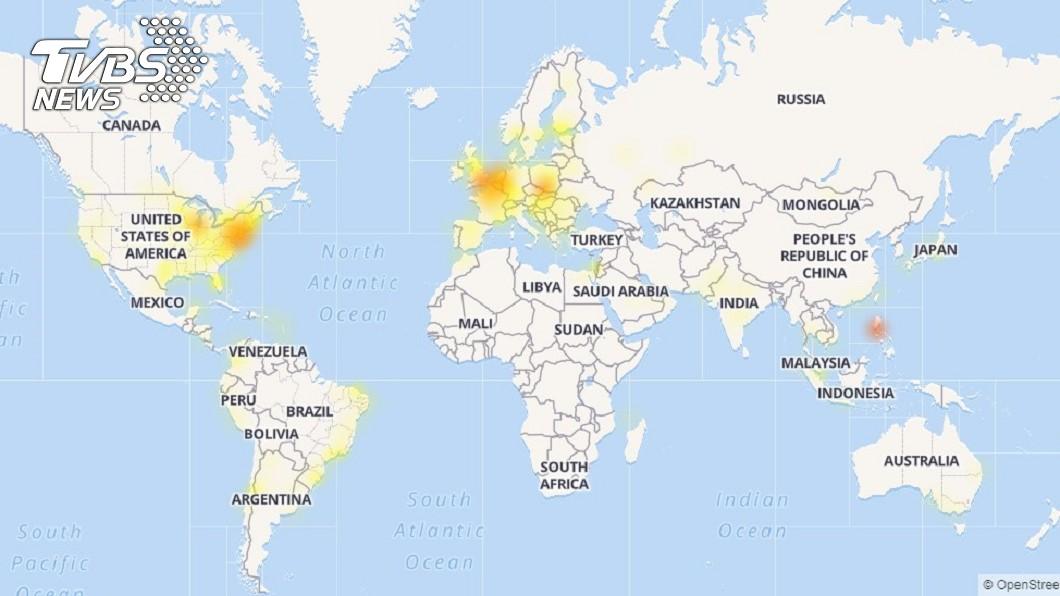 臉書全球大當機災情圖,可以看到台灣一片紅,可以說是最為嚴重。圖/Down Detector