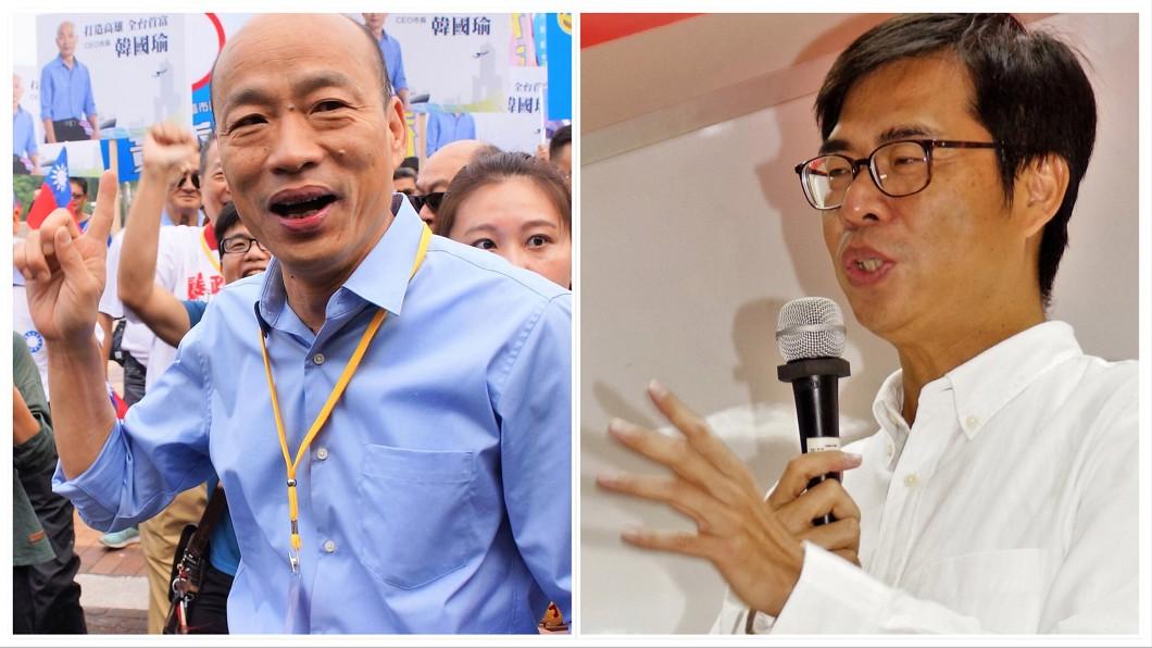 這屆高雄市長選舉,國民黨的韓國瑜擊敗民進黨的陳其邁,成功翻轉綠營長達20年的執政。(圖/合成圖,中央社) 未來日子還長呢!朱學恒送2詩勉瑜、邁