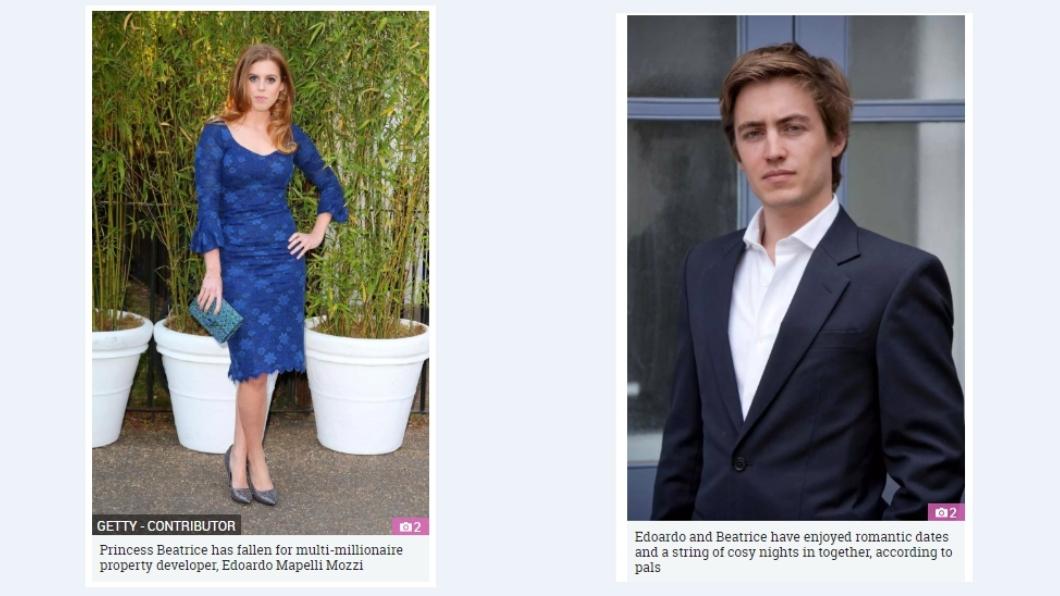 碧翠絲(左),莫齊(右)。圖/翻攝自《太陽報》 英國富商攀上公主 急當駙馬狠甩3年台裔女友