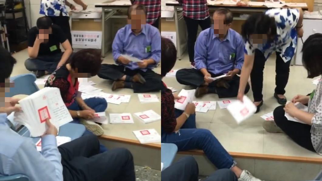 圖/翻攝自臉書 打臉中選會!票所「坐地數鈔式」算公投 網怒批丟臉