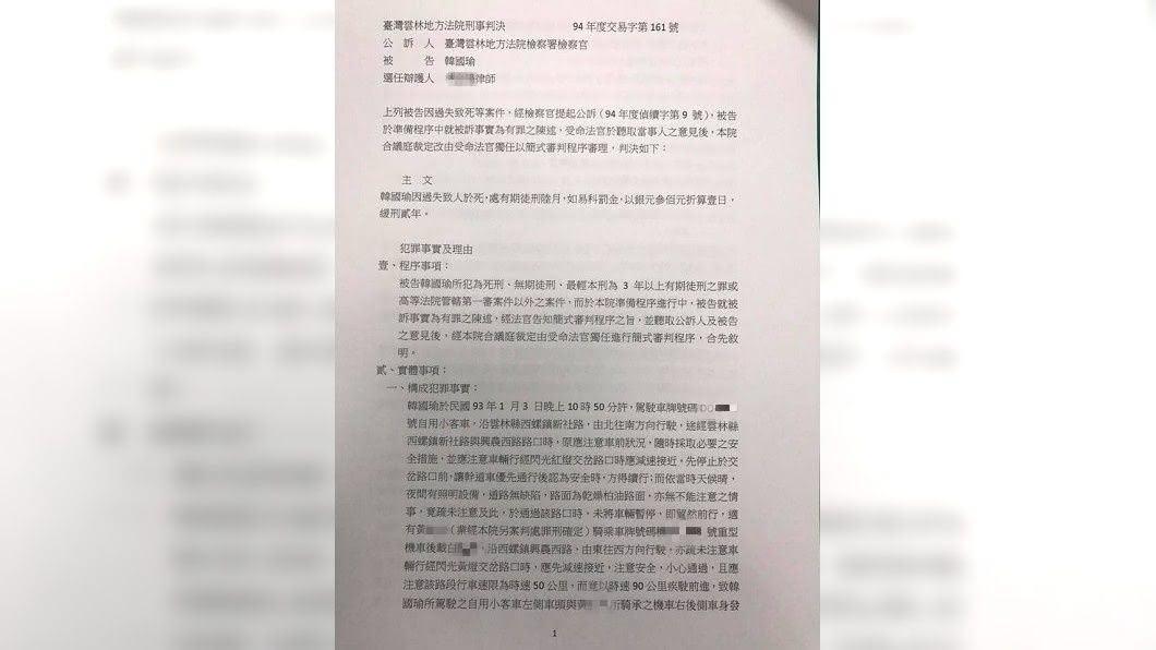 14年前,韓國瑜曾開車撞死,當時的判決書內容曝光。(圖/韓國瑜陣營提供)