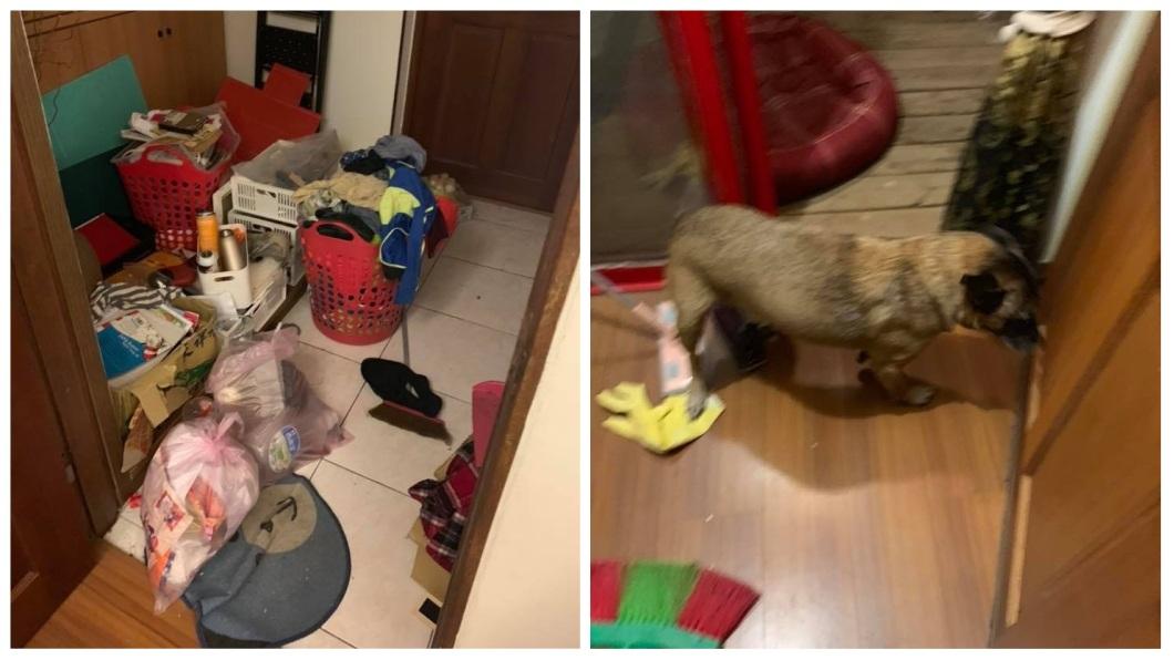 這對母子把家裡弄得一團亂,甚至還養狗。(圖/翻攝自花蓮同鄉會臉書)