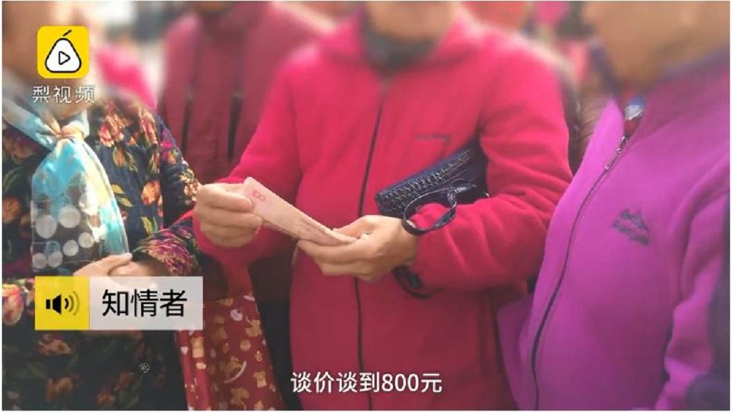 大媽們原本討價1060元人民幣,最後雙方討價還價,決定800元。(圖/翻攝自梨視頻)